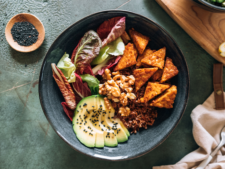 tofu nuts vegan bowl 732x549 thumbnail.